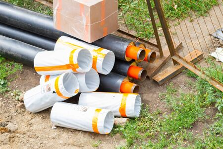 a large water or sewage pipes on the ground