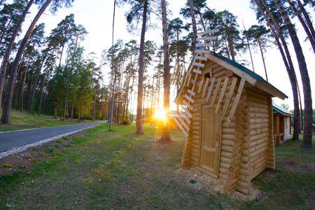 Wooden house in pine forest in sunset. Reklamní fotografie