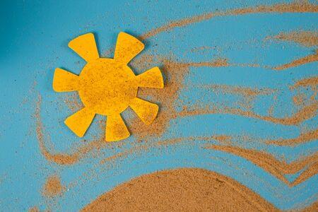 Sandstorm in desert concept. sand over blue background Stock Photo
