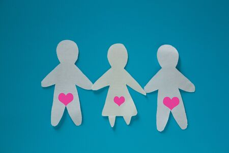 Threesome sex concept image. three paper people Imagens