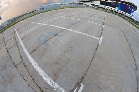 Empty parking lot shooted on fisheye lens