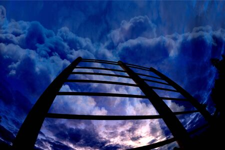 stairs leading toward the sky. Stairs in the sky