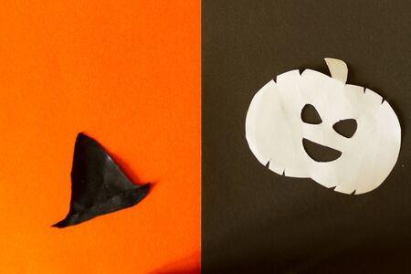 Halloween concept image. Pumpkin and witch hat