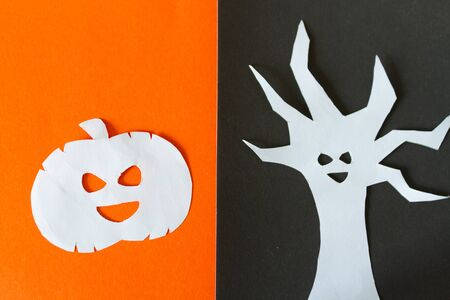 Funny ghost character. Halloween concept. Made of paper