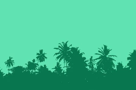 Sunset over palm trees. Tropical sunset Standard-Bild