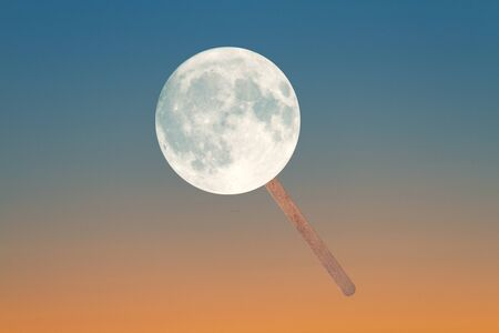 The moon as a lollipop. Funny concept