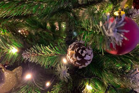 Christmas tree decoration. Close up Archivio Fotografico