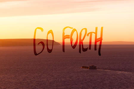 Rocky sea coastline. Go forth sign Archivio Fotografico