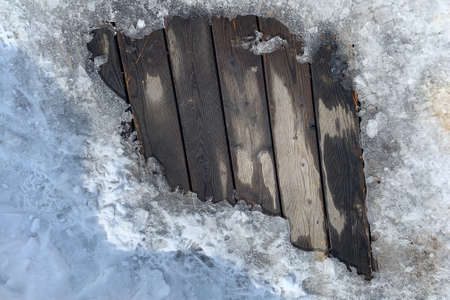 Old wood texture with snow christmas background