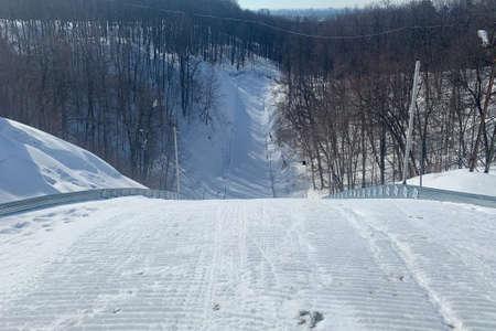 Slope on the skiing resort. Sunny day 版權商用圖片