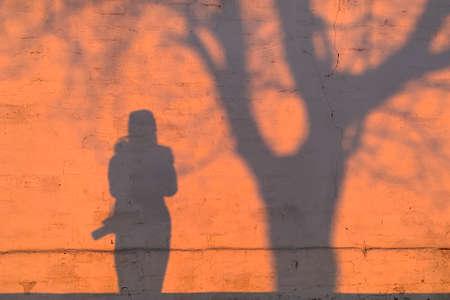 Shadow of a woman under a tree 版權商用圖片