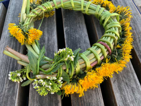 Spring flowers wreath. Made of yellow flowers