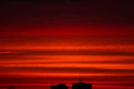 Red sky at sunset. Cloudscape