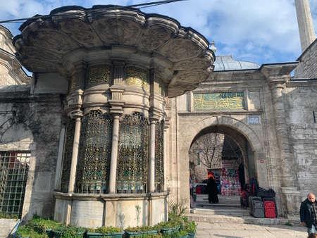 Street market near a mosque in Istanbul, Turkey
