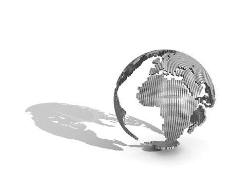 globe logo: 3D Globe on a white background