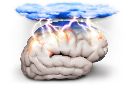 frontal lobe: Brainstorm and brainstorming inspiration concept with a brain