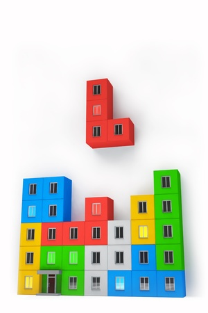 Tetris on the construction and real estate industry Stock Photo - 21463318