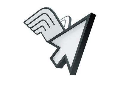 cursor flying with wings on a white background