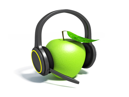 apple on a white in headphones with a microphone