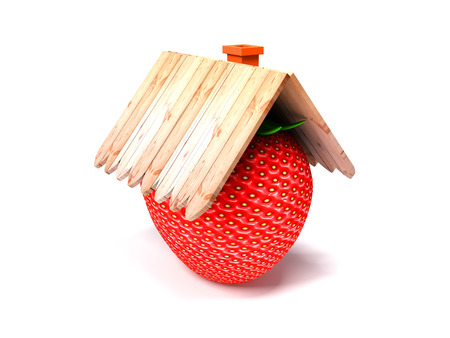 Red strawberries on a white background with the wooden roof Stock Photo