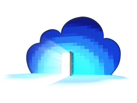 Blue cloud with the door open and light Stock Photo