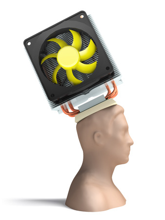 Man with a cooling device for the brain