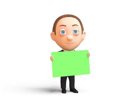man with a placard on white background