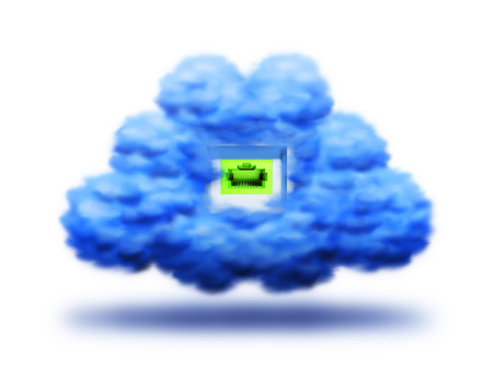cloud with a socket for connection on a white background