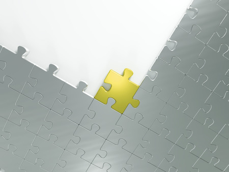 metallic puzzle with one gold puzzle on white background