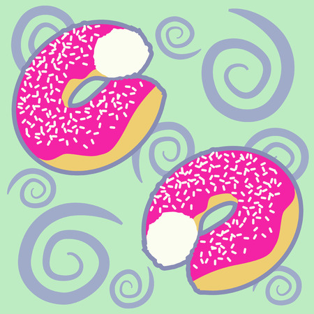 Pattern with flying donuts on a green background photo
