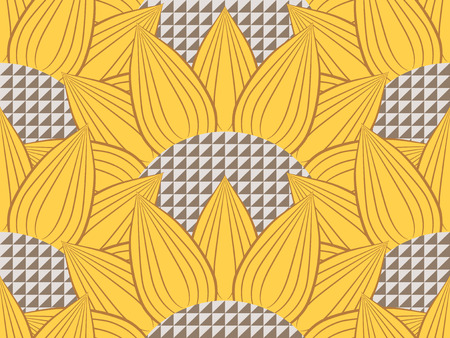 Pattern with tech yellow sunflowers with decorative seeds Stock Photo