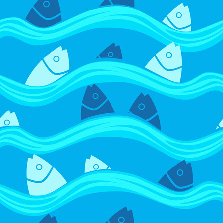 Pattern with Fish in the Sea on a blue background Stock Photo