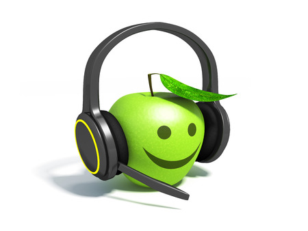 Realistic headphones and green apple.
