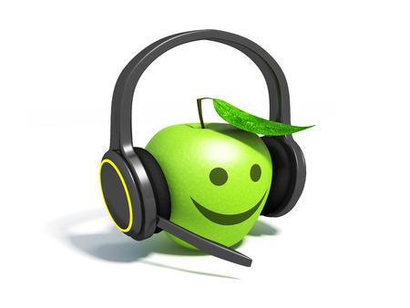 Realistic headphones and green apple.