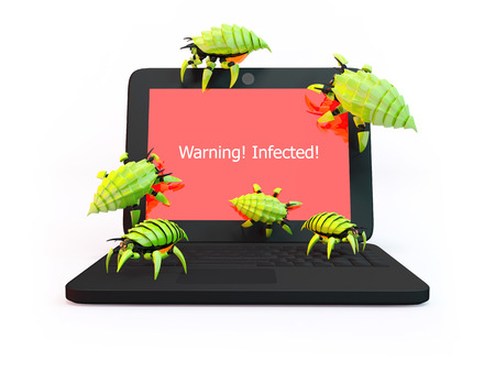 Green viruses attack laptop isolated on white background photo