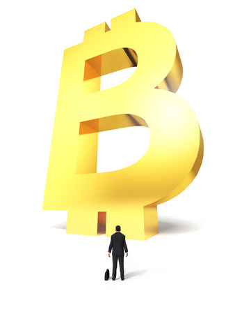 Growing up sign Bitcoin electronic money with a surprised businessman