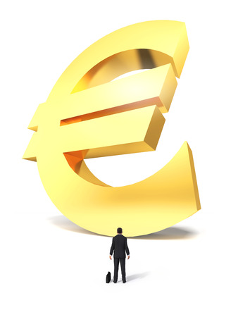 Raised money euro sign with surprised businessman on white background Stock Photo