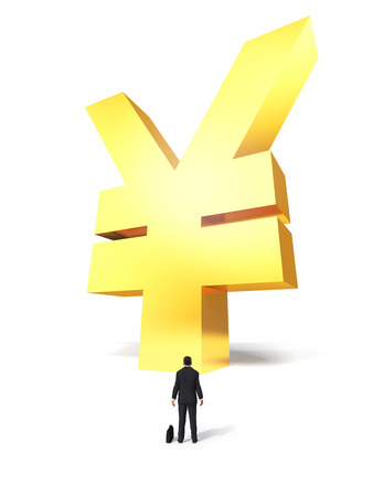 Growing yen sign with surprised businessman on white background Stock Photo