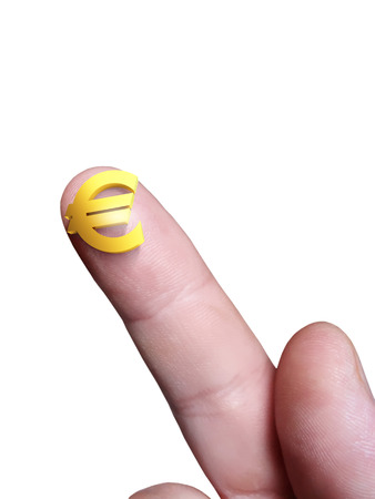 Micro euro sign on her finger and a white isolated background