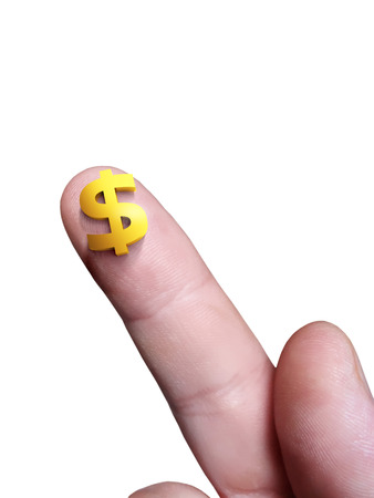 Micro dollar sign on her finger and a white isolated background Stock Photo