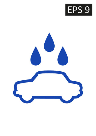 Vector sign on white with water droplets. Car wash. Illustration
