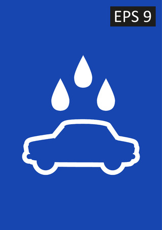 Vector sign on blue with water droplets. Car wash.