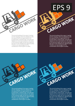 Vector delivery of cargo global transportation concept illustration collection