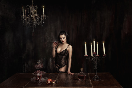 sumptuousness: Girl with wine