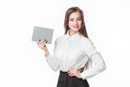 notecard: a woman holding a sign Stock Photo