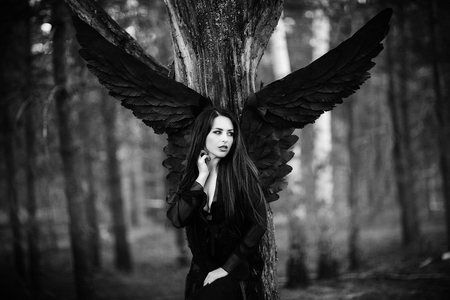 black wings: dark fairy in the woods. Blue tone picture