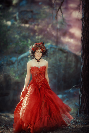 velvet dress: Fairy-tale image of a girl in the forest