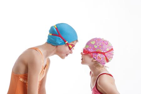 Dos, niñas, natación, trajes, mirar, cada, otro