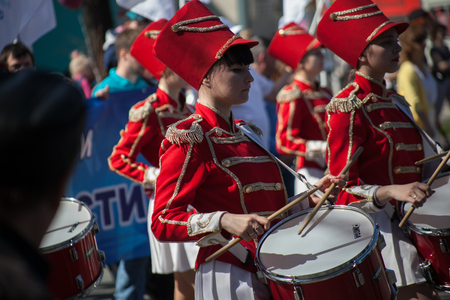 Girls with drums on parade