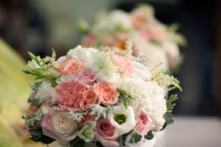 Wedding bouquet of white and pink roses Stock Photo